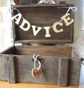 Advice box, wedding reception